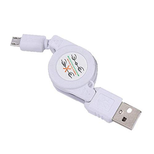 Xiton Retractable Daten-Sync-Kabel versenkbare Mini-Ladekabel ist kompatibel mit Samsung Galaxy und mehr Android-Geräte in weiß - Mini Retractable Sync