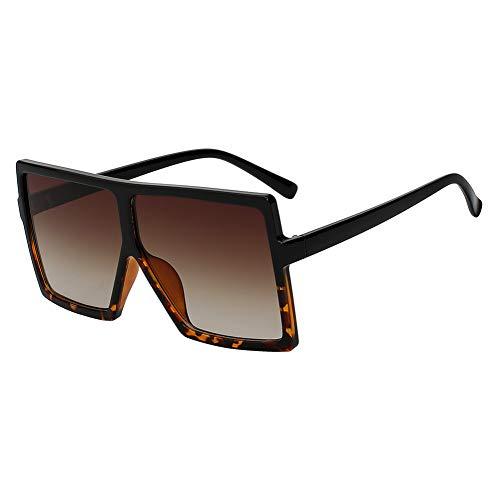 Shihuam Übergroße quadratische Frauen-Sonnenbrille Er Fashion Glasses für weibliche Retro- Weinlese-Sonnenbrille Big Oculos,Rahmen aus schwarzem Leopardenmuster