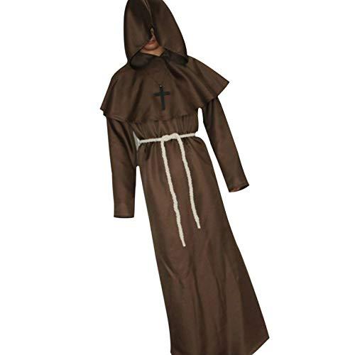 Kostüm Wizard Robe - Yujum Unisex Kostüm Mittelalterliche Monks Robe Wizard Pastor Cosplay Pastor Robe Christen Kleid