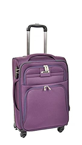 4 Wheel Soft Suitcase Lightweight Spinner Travel Trolley Expandable Luggage H910 Purple (CABIN | 56x38x24cm/