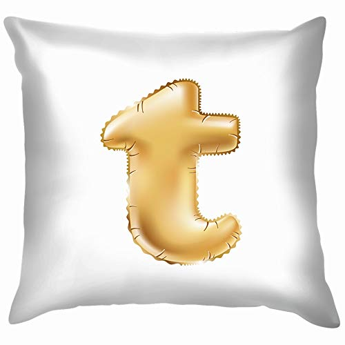 beautiful& Metallic Gold T Balloons Golden Education ABC Pillow Case Throw Pillow Cover Square Cushion Cover 18X18 Inch