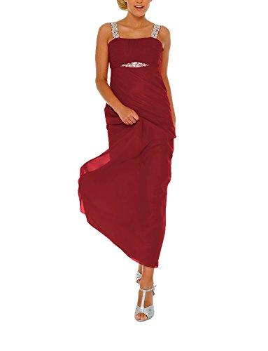 Astrapahl Damen Cocktail Kleid mit Pailletten, Maxi Rot (Rot)