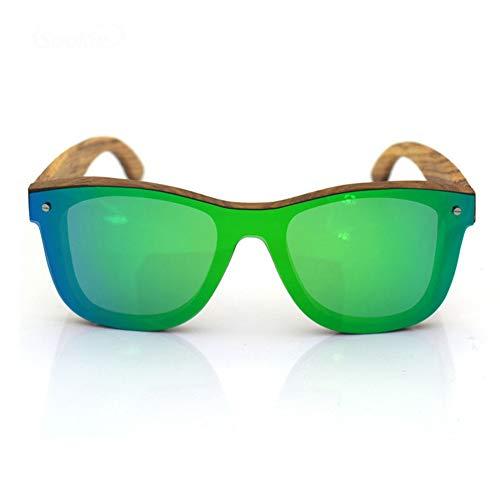 CWYPB Bambus-Sonnenbrillen, UV400 Polarisierte Classic Vintage Style Rimless Frames Wood Shades für Männer und Frauen für Travel Bike Fishing Beach,Green