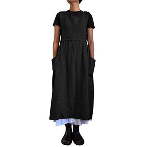 AZZRA Damenmode Ärmelloses Kleid Einfarbig Seitentaschen Lose Rock Kleid Ärmellos Abendkleid Party Chiffon V Ausschnitt Lose A Linie Tunika Swing Minikleid Leinenkleid -