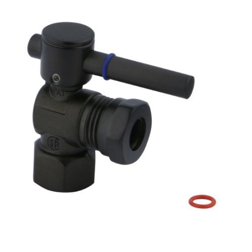 Kingston Brass CC44105DL Concord Decorative Quarter Turn Valve with 1/2-Inch IPS Inlet, 1/2-Inch or 7/16-Inch Slip Compression, Lever Handle, Oil Rubbed Bronze by Elements of Design -