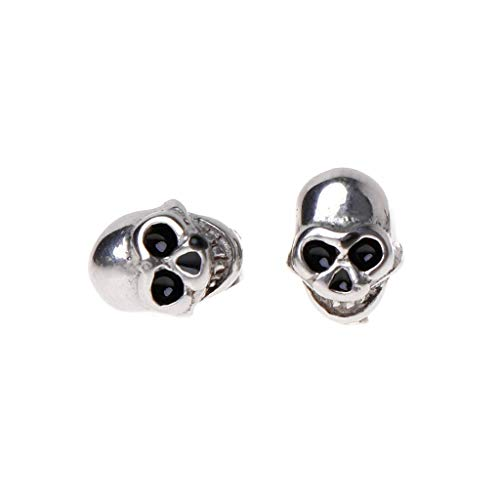 ashion Reggae Style Cool Stainless Steel Skull Head Halloween Carved Engraving Charms Men Women Earrings Decoration Brincos Silver Piercing ()