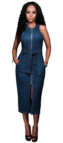Femmes Sexy Crew Neck sans manches Zipper Split Stretch denim longue robe Clubwear Bleu