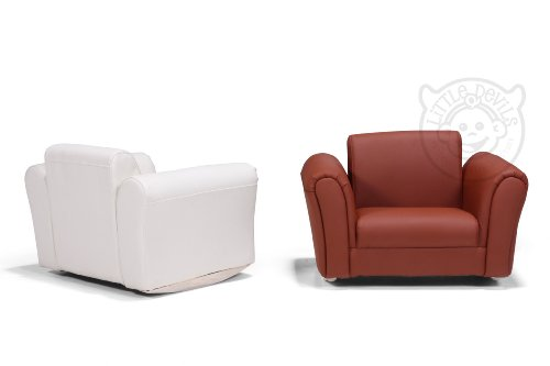 Cream lazybones pu leather rocking chair armchair kids for Childrens armchair and footstool