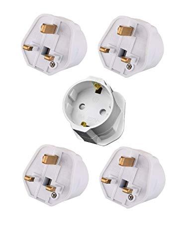 Tech Traders ttschuko europäischen Euro EU Schuko 2UK 3-Pin Plug Adapter Travel Netzadapter (5Stück), weiß, Set 5Stück