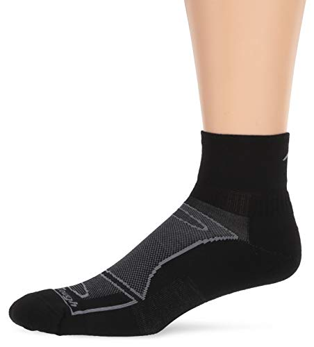 Darn Tough Vermont Herren 1/4 Merino Wolle Socke Light Cushion Athletic Socken, Herren, schwarz/grau