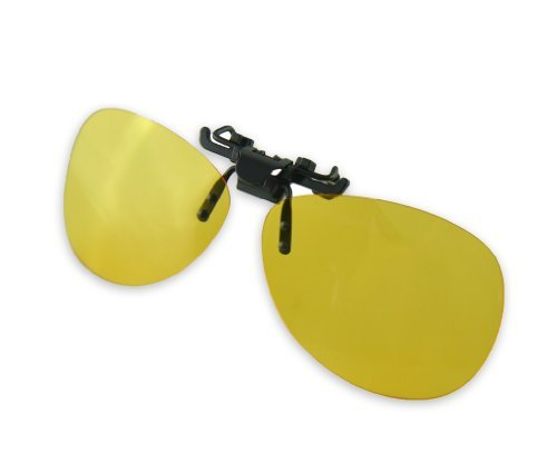 Yellow Night Vision Retro Polarized Clip-on Flip-up AVIATOR Plastic Sunglasses Driving Traveling by Careview