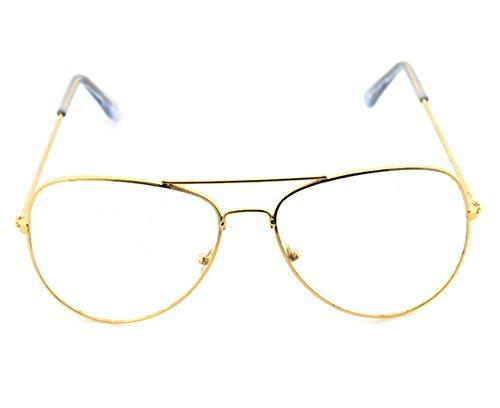ODN Vintage Pilotenbrille Mit Fensterglas für Männer oder Frauen (Golden)