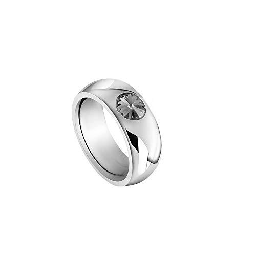 Heideman Ring Damen Coma 8 aus Edelstahl Silber farbend poliert Damenring für Frauen mit Swarovski Stein Kristall Black Diamond grau im Fantasie Edelsteinschliff 6mm - Ringe Diamond Black