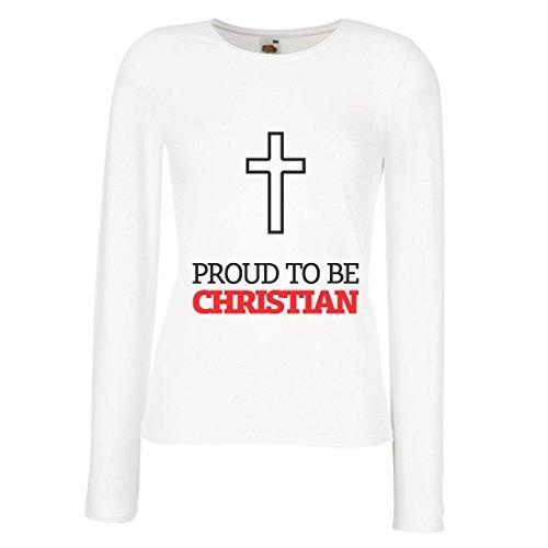 Weibliche Langen Ärmeln T-Shirt Stolz Darauf, Christ zu sein! Gott Liebt Jeden von Uns - Einzigartige Religiöse Geschenke (Small Weiß Mehrfarben) (Jesus T-shirt Christ)