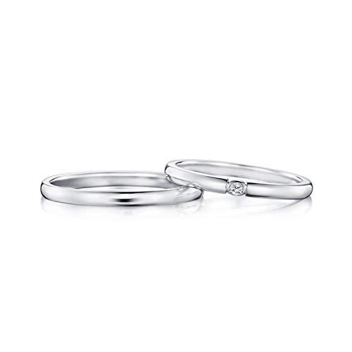 AmDxD 2Pcs Bague Or 750 18K Rond Diamant Incrusté 0.04ct Alliance Couple Mariage Argent Bague de Diamant Femme Taille 50 & Homme Taille 66.5