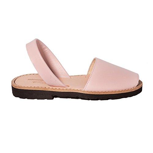 Minorquines - Sandales Avarca Cuir Pink - Enfant Rose