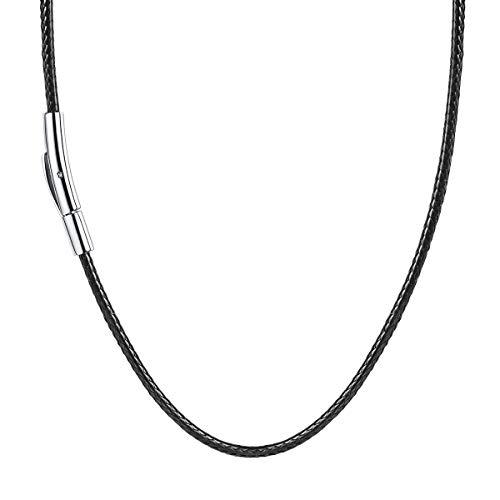 FOCALOOK Halskette/Armband Mode Kunstleder Collier Schwarz Wachsschnur Kette 45CM 2mm breit Geflochten Lederkette Gothic Lederband mit Edelstahl Verschluss für Männer Frauen Jungen Mädchen