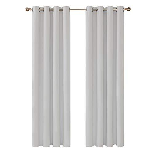 Deconovo tenda oscurante termica isolante tende con occhielli 100% poliestere grigio perla 140x260cm 2 pannelli