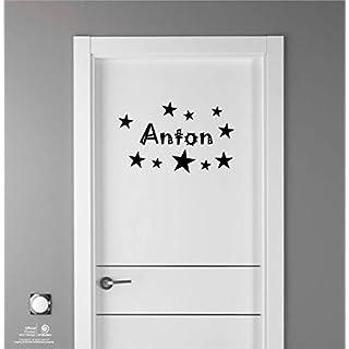 Artstickers Kinder Aufkleber für Möbeldekorationen, Türen, Wände. Name: Anton, In Schwarz, der Name in 20 cm + Zehnerpaket Sterne für Freie Anbringung.