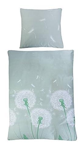 Satin-Bettwäsche Bettbezug Bettwäschegarnitur LAURA | 2-teilig | 135 x 200 cm | Baumwolle | Mint | Pusteblumen