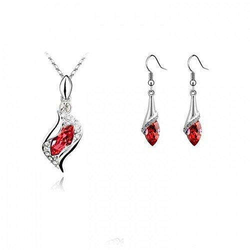 Parure océan cristal swarovski elements plaqué or blanc Rouge