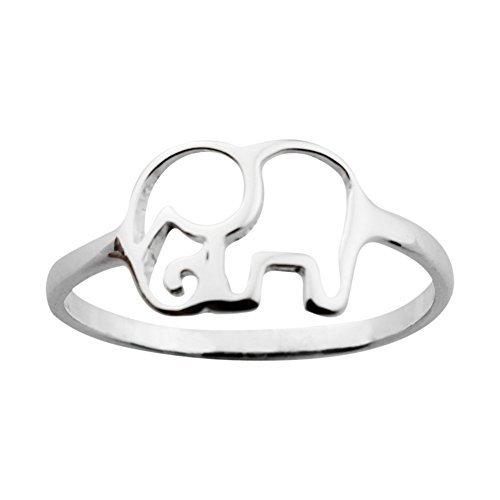 ELBLUVF 925 plata ley elefante Animal Lucky Anillo