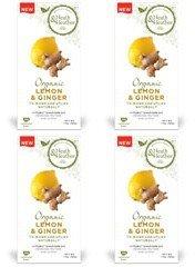 (4 PACK) - Heath And Heather - Organic Lemon & Ginger Tea | 20 Bag | 4 PACK BUNDLE