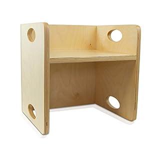 edu fun 43340 Kinderstuhl Wendehocker Holz 2in1 Tisch Kinder-Hocker mitwachsende Kindermöbel Zwei Sitzhöhen 21 cm oder 10,5 cm als Tisch 30 x 30 cm