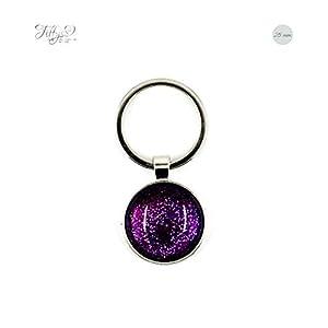 Schlüsselanhänger Cabochon 25 mm Glitzer – lila