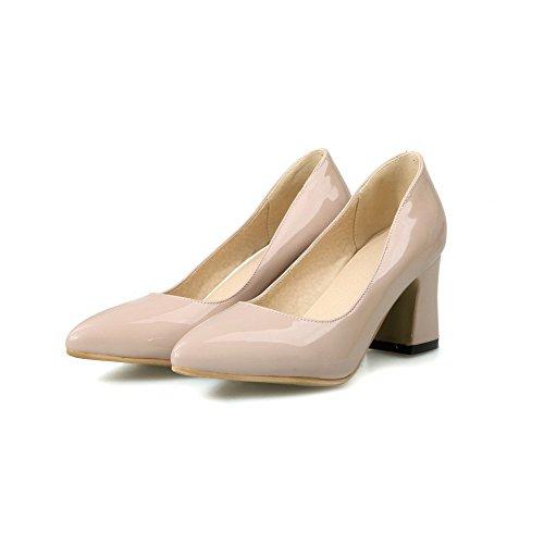 AgooLar Femme Verni Couleur Unie Tire Pointu à Talon Correct Chaussures Légeres Nu