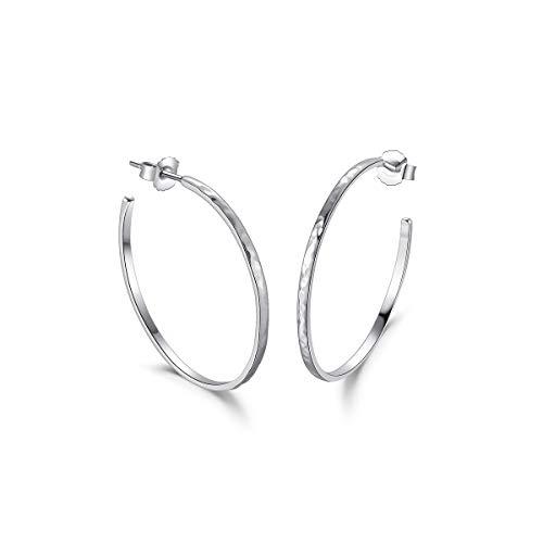 Große Creolen Offene Halbe Ohrringe Gehämmert für Damen 925 Sterling Silber - Durchmesser 36 mm