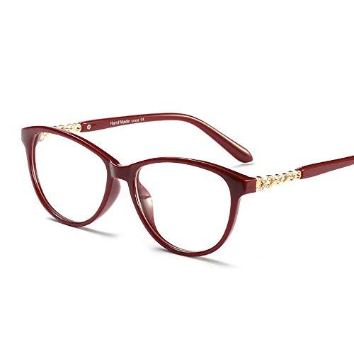 Polarisierte Sonnenbrille mit UV-Schutz Art- und Weisedamen-Licht-Luxusdiamant-Brillen-Rahmen, optische klare Linse Eyewear. Superleichtes Rahmen-Fischen, das Golf fährt ( Farbe : Wine red/clear )