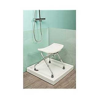 OrtoPrime Taburete Baño Plegable | Silla de Ducha para Mayores | Asiento para Ducha o Bañera Portatil | Altura Regulable | Silla Ortopédica para Discapacitados | Banqueta Antideslizante