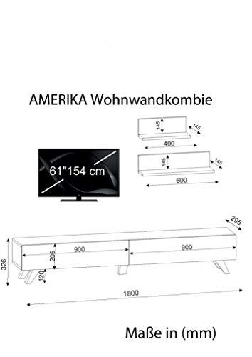 Wohnwand Anbauwand Wohnwandkombi TV Medienwand Lowboard AMERIKA in Weiß-Walnussbraun 1667 - 6