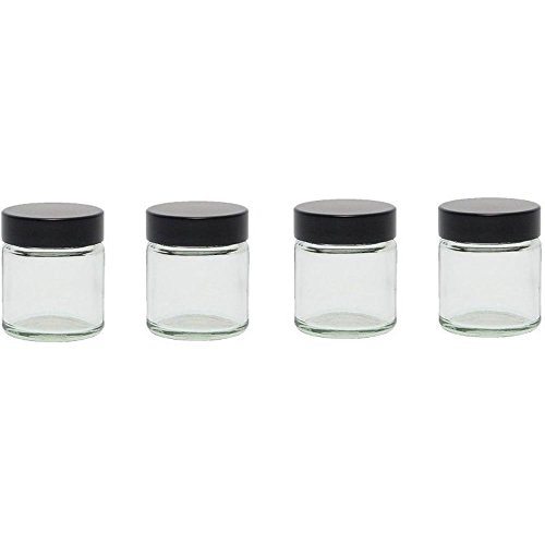 Kräuter-nagel (Viva Haushaltswaren - 4 x Glastiegel mit Deckel 30 ml, Mini Glasdosen in Apothekerqualität als Cremetiegel, Schraubdeckelglas, Gewürzglas, Kosmetikdose etc. verwendbar (inkl. Beschriftungsetiketten))