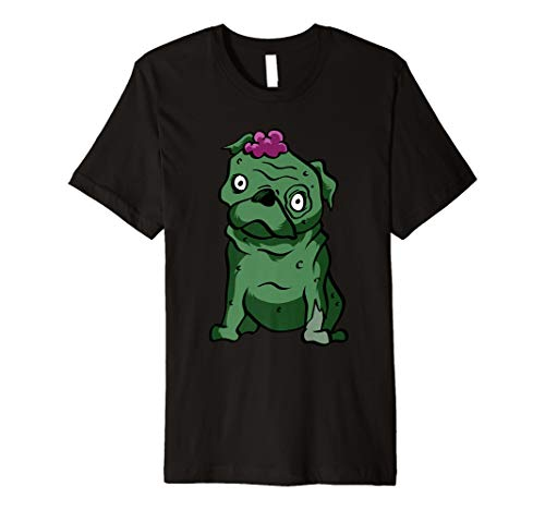 Lustiges Mops Zombie T-Shirt lebender Toter Halloween Hemd