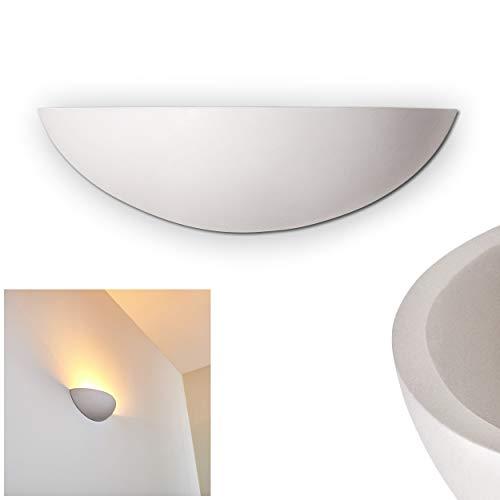 Wandlampe Ovalle aus Keramik in Weiß, Wandleuchte mit Lichteffekt, 1 x E27-Fassung, max. 40 Watt, Innenwandleuchte mit handelsüblichen Farben bemalbar -