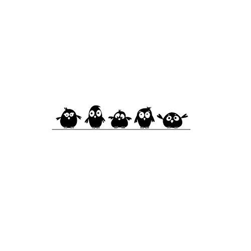 LELTWS Wandaufkleber Nette 5 Kleine Vögel Auf Die Draht Wand Aufkleber Tür Aufkleber Für Kinder Zimmer Wohnzimmer Kunst Decals Cartoon Tier Wasserdicht Vinyl - Laptop Decal Baum