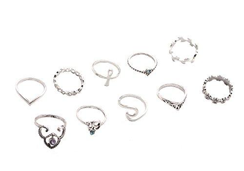 Cosanter Branches Set de 10 anillos (1 juego, 1 venta), plata, talla única