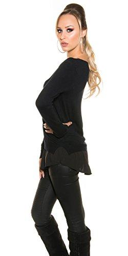 Koucla pull femmes pull sweat avec chemise chemisier 2-in-1 LOOK COUCHE MARCOTTAGE Style Noir
