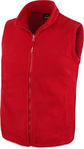 280 g/m² Herren Fleeceweste für den Übergang mit Taschen und Stehkragen - leicht, elegant, funktional Farbe Rot Größe 4XL