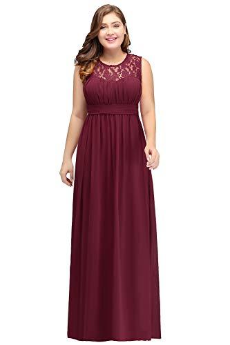 MisShow Damen Elegant übergröße Abendkleider Ballkleid Chiffon Maxikleid Plus Size lang Wein Rot 56