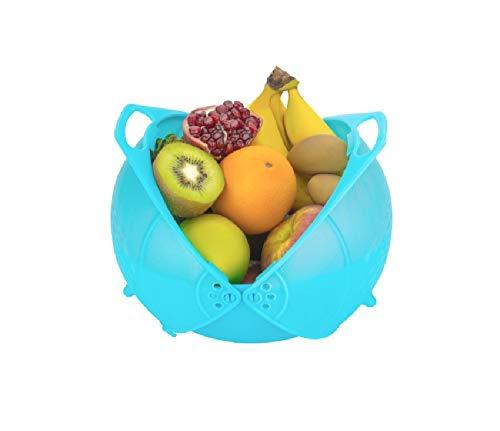 Slings Plastic Vegetable Fruit Rinse Bowl & Strainer Cum Basket (Assorted Colors) (1)