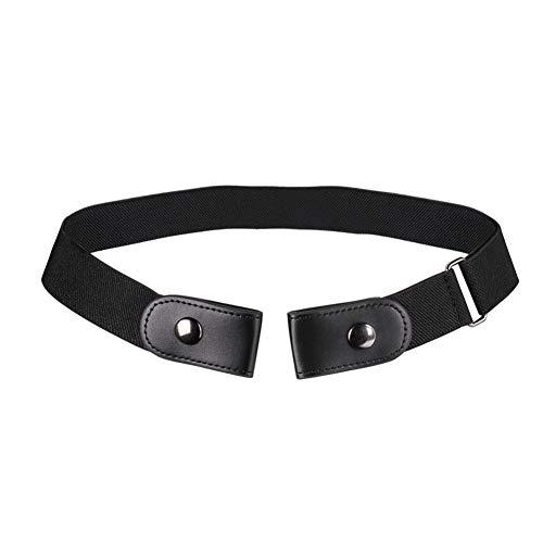 Fousamax Cinturón de cintura ajustable sin hebilla Sin hebilla Cinturón elástico invisible para hombres y mujeres size 80-100cm (Black)