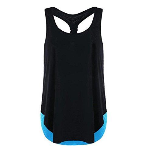 UFACE Damen Weste, ärmelloses Passendes Top mit Weste Sommer Tops Tunika Freizeithemd Bluse (XL, Blau)