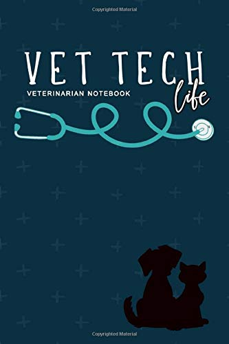 Vet Tech Life Veterinarian Notebook: Dog and Cat with Stethoscope | Veterinary Office Staff College Ruled Lined Notes Journal | great gift for a Vet tech student
