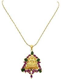 JFL - Traditional Ethnic Temple Goddess Laxmi One Gram Gold Plated American Diamond Ruby And Green Stone Designer... - B075B5YRWN