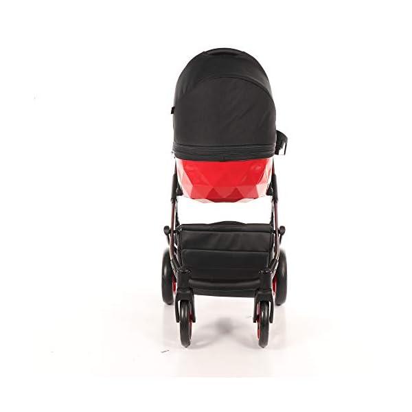 Baby PRAM Pushchair Set JUNAMA Diamond S-LINE BABYWAGEN Buggy BABYSCHALE + ZUBEHÖR (01 Rot-Schwarz, 3in1) JUNAMA Lockable swivel wheels Light alluminium chassis 2 separate modules - baby tub, sport seat 3
