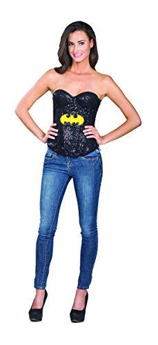 costumebakery - Damen Frauen Batgirl Kostüm mit Pailletten Corsage, perfekt für Karneval, Fasching und Fastnacht, L, Schwarz