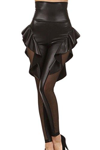 Jumojufol La Mujer Es Gotico Elegante Malla Elastica De Talle Alto Largo Legging Pantalones Apretados Black One Size